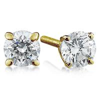 1/2 ct.tw Round Diamond Solitaire Earrings in 18 kt. Yellow Gold
