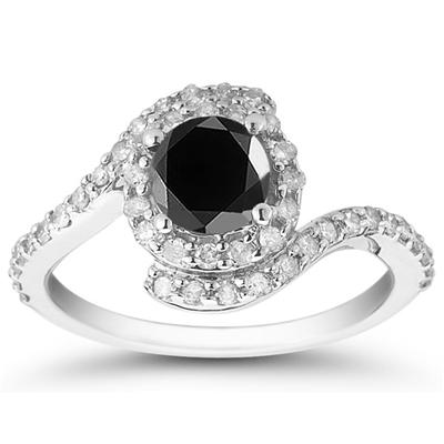 1.50 Carat Black and White Diamond Ring in 10K White Gold