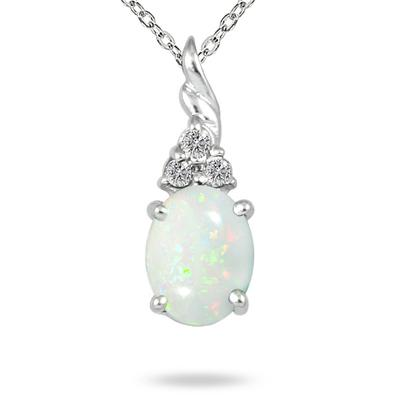 Szul.com - 1.50 Carat Natural Opal and Diamond Pendant - $27