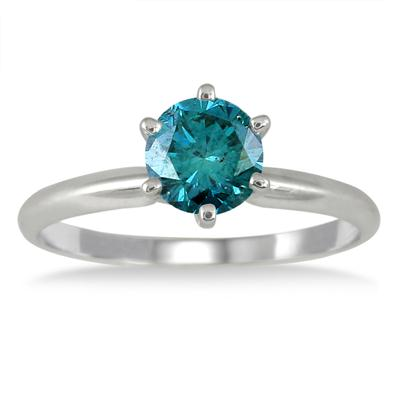 0.75 Carat Round Blue Diamond Solitaire Ring in 14k White Gold