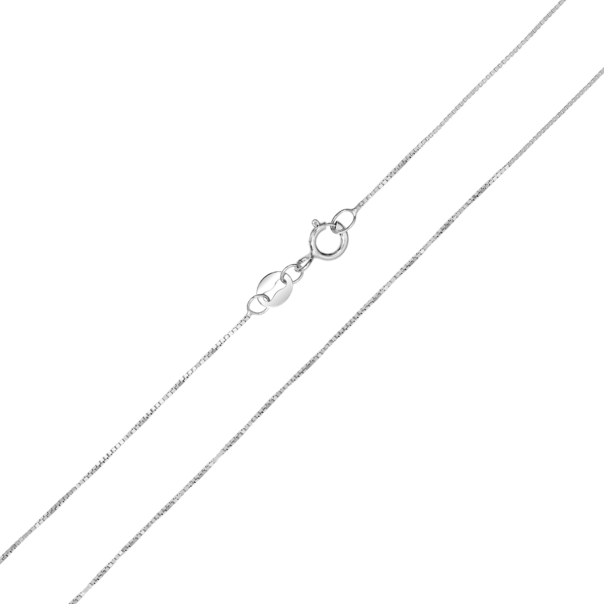 10k White Gold 0.6mm Classic Box Chain with Spring Ring Clasp - 16 Inch