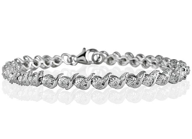 1/4 Carat Diamond S Link Bracelet in Rhodium Plated Brass