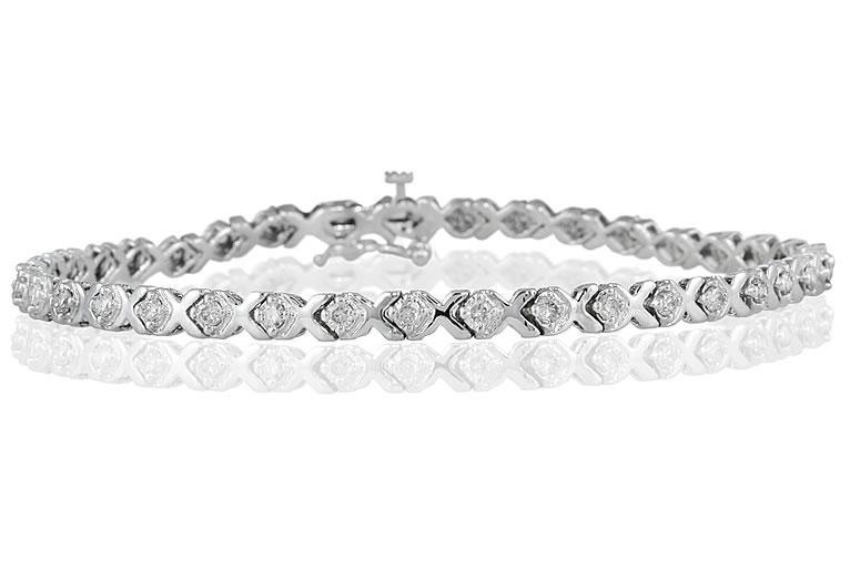 1 Carat TW Diamond X Bracelet in 14k White Gold