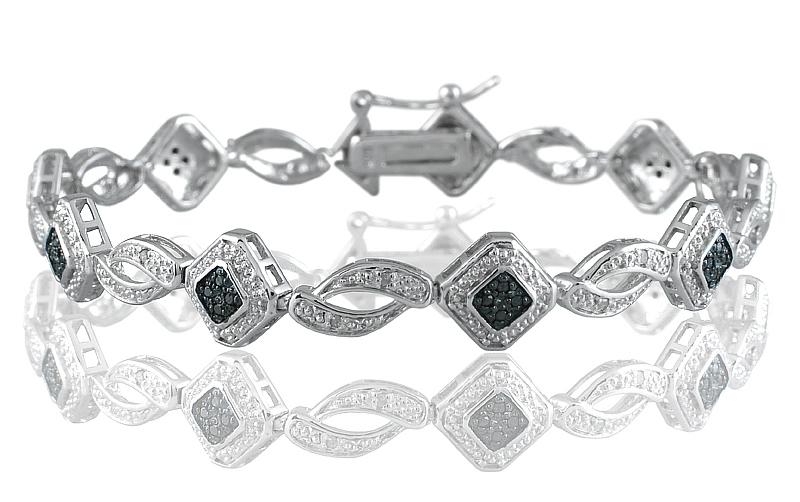 szul.com 1/3 Carat TW Genuine Black and White Diamond Bracelet in .925 Sterling Silver at Sears.com
