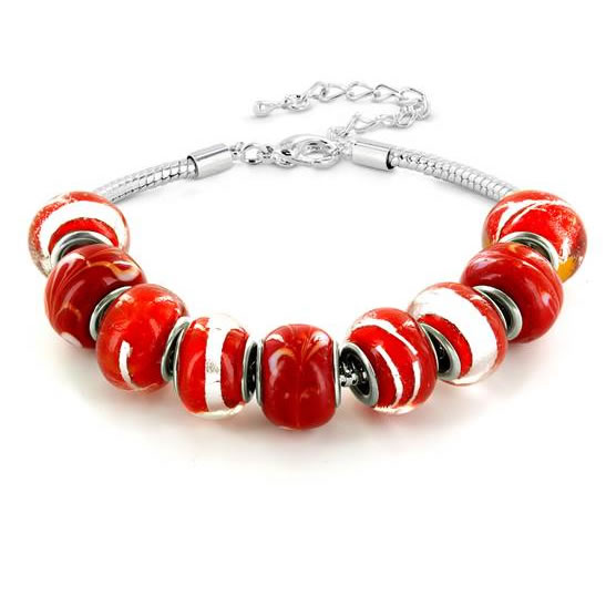 Hand Blown Red and White Glass Bead Bracelet in Plated Sterling Silver