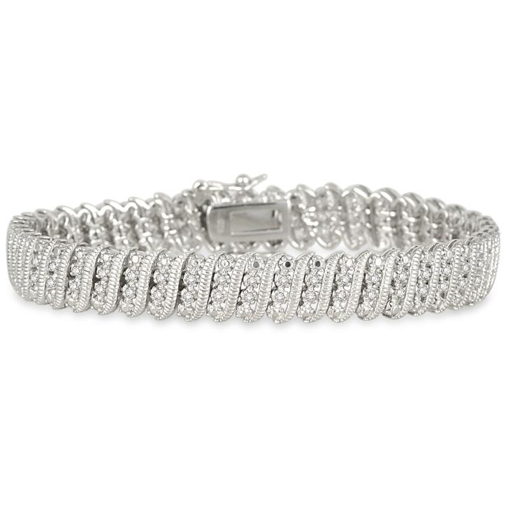 szul.com 1.00 Carat Diamond Tennis Bracelet in Rhodium Plated Brass at Sears.com