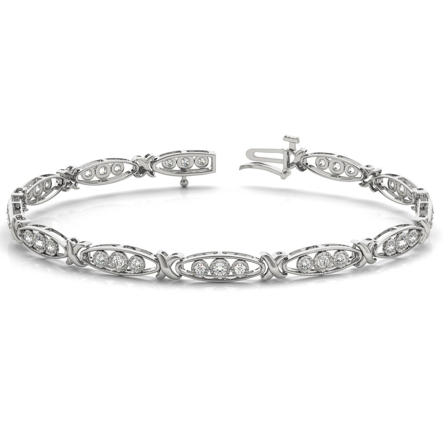 1/3 Carat TW Diamond Three Stone Bracelet in 10K White Gold