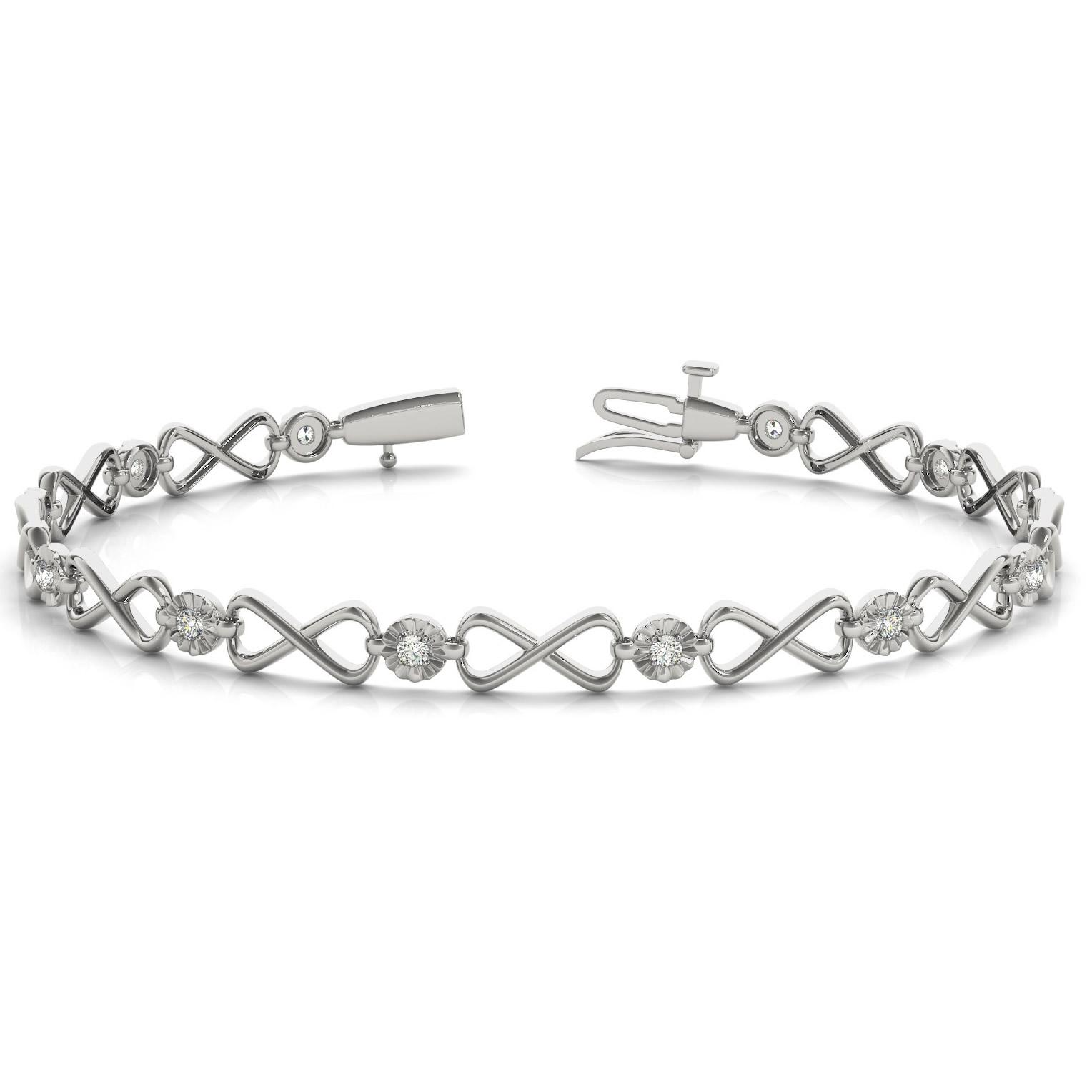 1/4 Carat TW Diamond Infinity Bracelet in 10K White Gold
