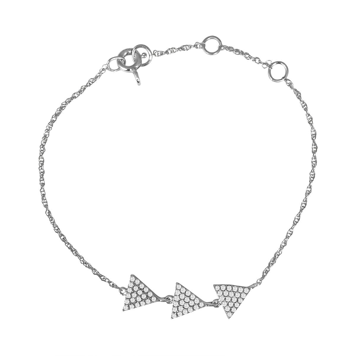 1/3 Carat TW Diamond triple Triangle Bracelet in 10K White Gold