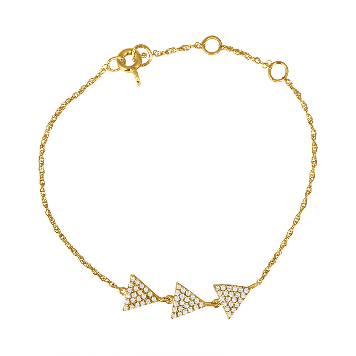1/3 Carat TW Triple Arrow Diamond Chain Bracelet in 10K Yellow Gold