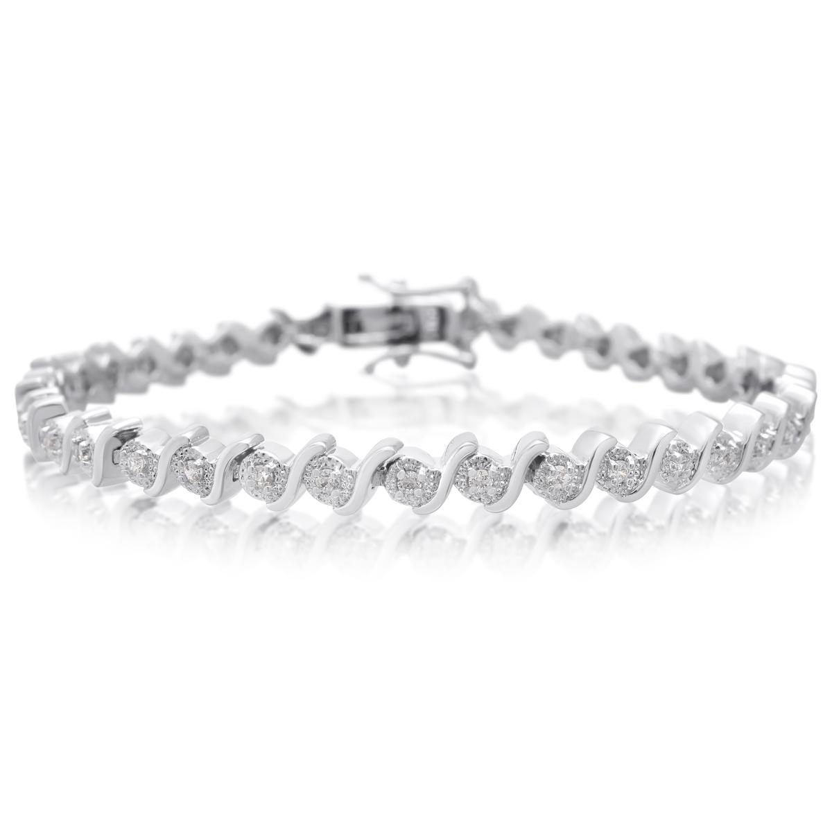 1/2 Carat TW Diamond Bracelet Platinum Overlay Brass