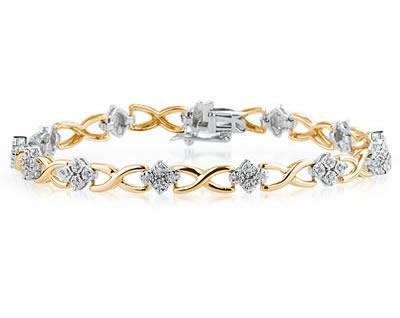 1/4 Carat TW Diamond Bracelet in 14K Two Toned Gold