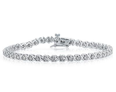 szul.com 1.25 CTW Diamond X Link Bracelet in 14K White Gold at Sears.com