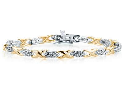 1/4 Carat TW Diamond Barcelet in Two Toned 14K Gold
