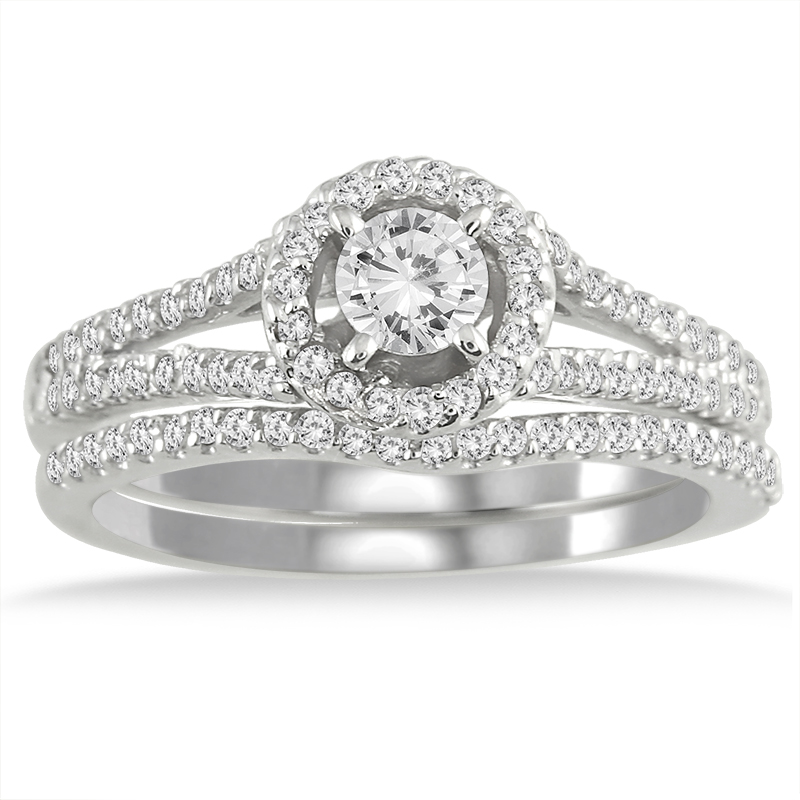 3/4 Carat TW Halo Diamond...