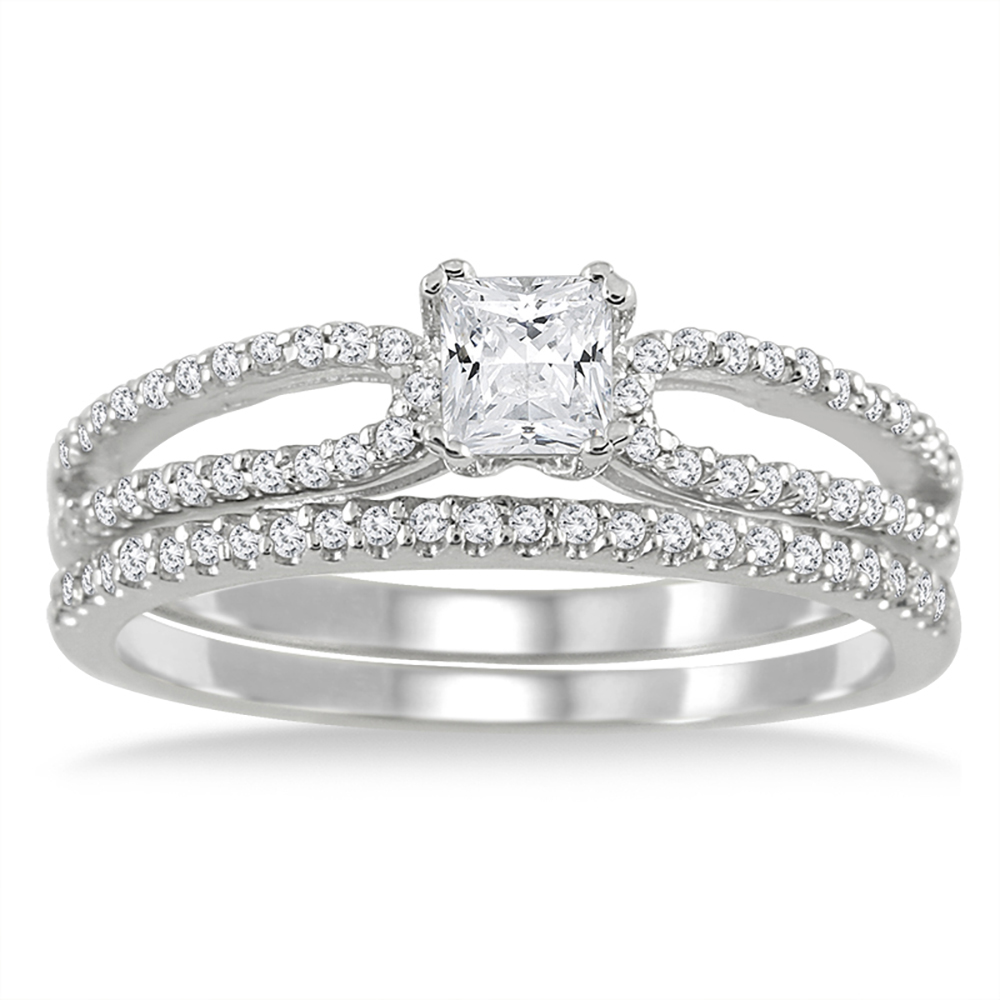 3/5 Carat TW Princess Diamond Bridal Set
