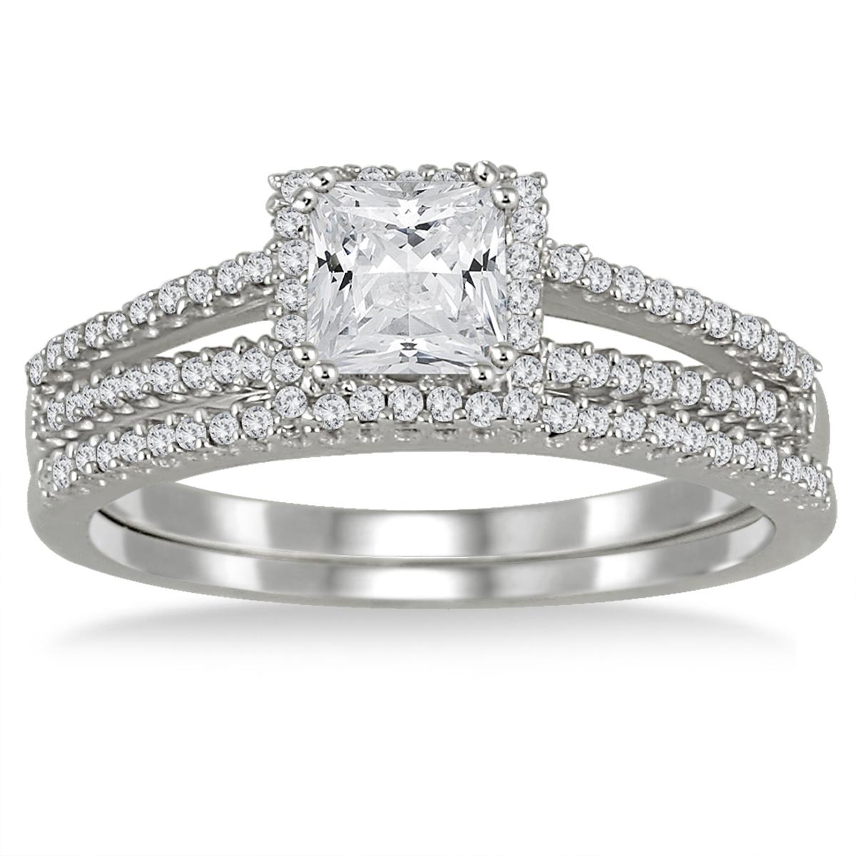 4/5 Carat TW Princess Cut Diamond Bridal