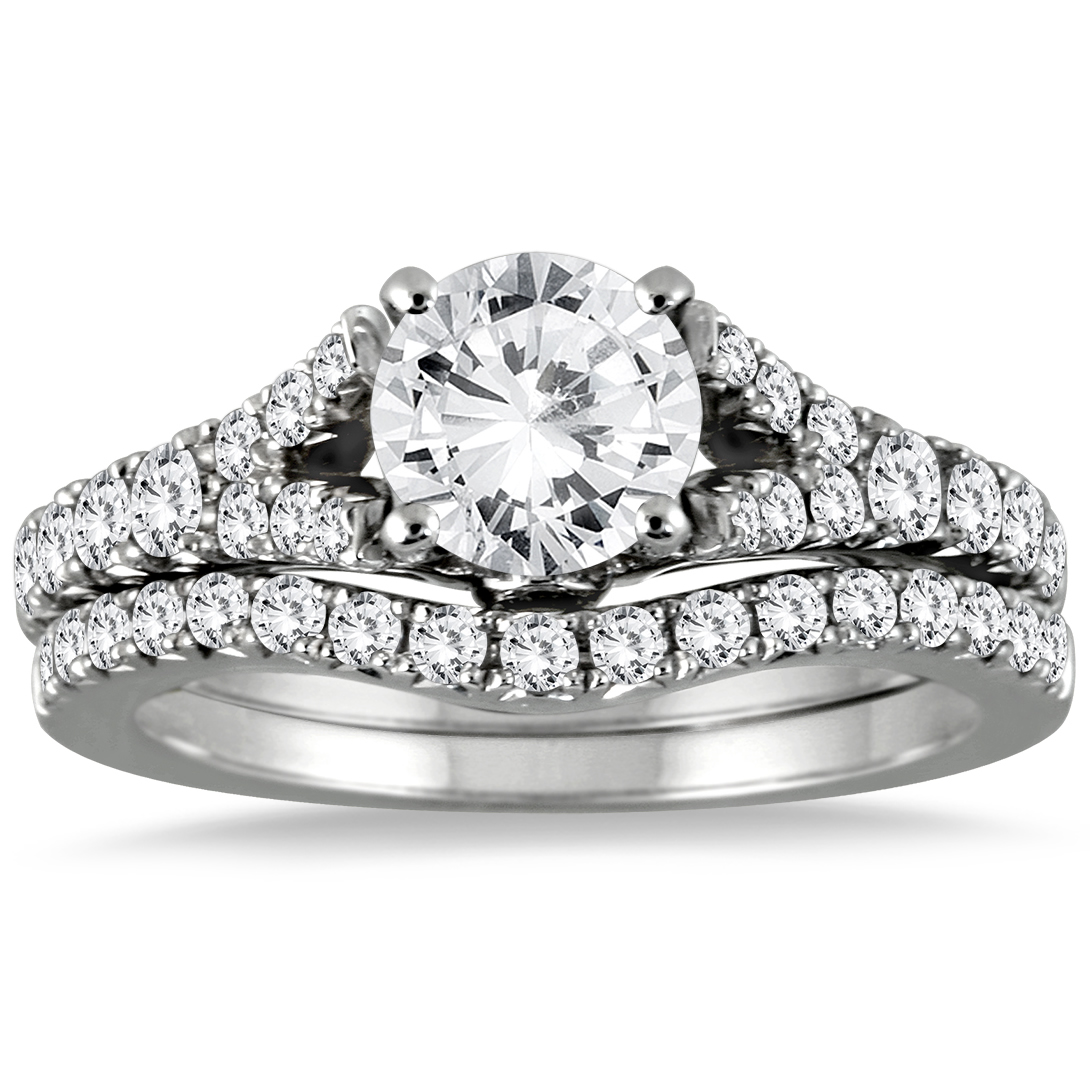 AGS Certified 1 3/4 Carat Diamond Bridal Set in 14K White Gold (I-J Color, I2-I3 Clarity)