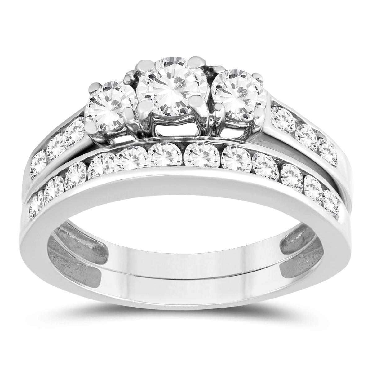 szul.com 1 1/2 Carat Three Stone Diamond Bridal Set in 10K White Gold at Sears.com