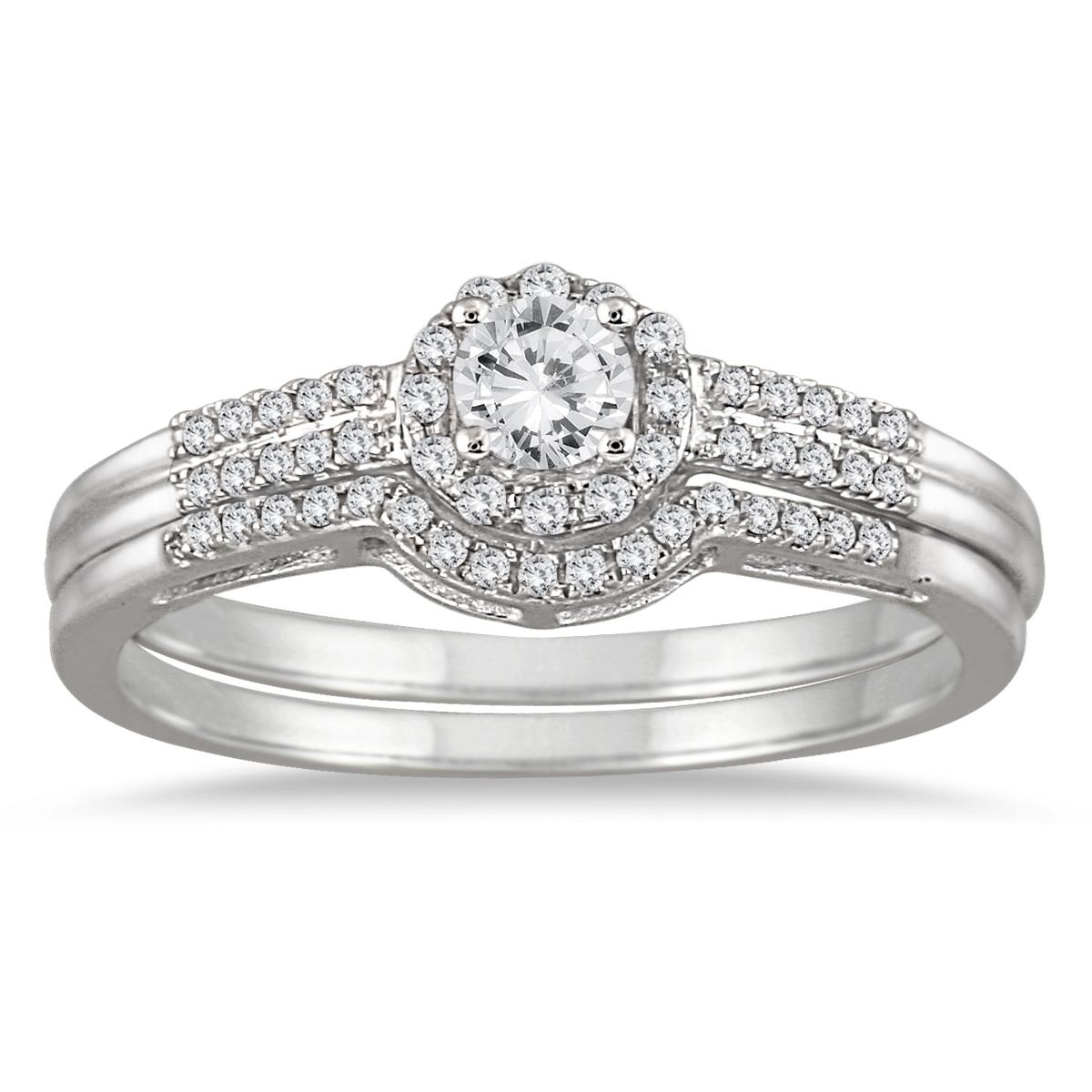 1/2 Carat TW Diamond Halo Bridal Set in 10K White Gold