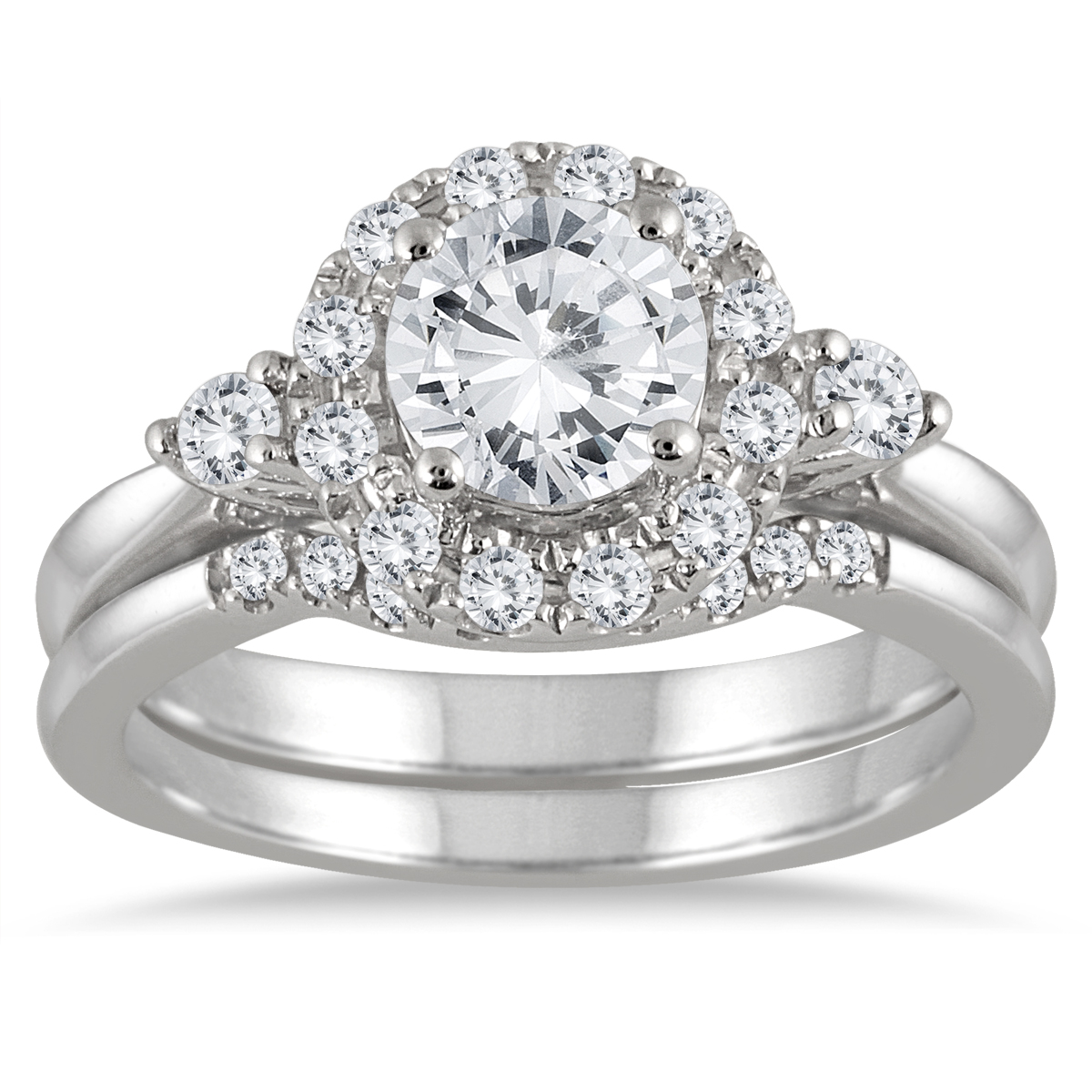 AGS Certified 1 1/2 Carat TW Halo Diamond Halo Bridal Set in 14K White Gold (J-K Color, I2-I3 Clarity)