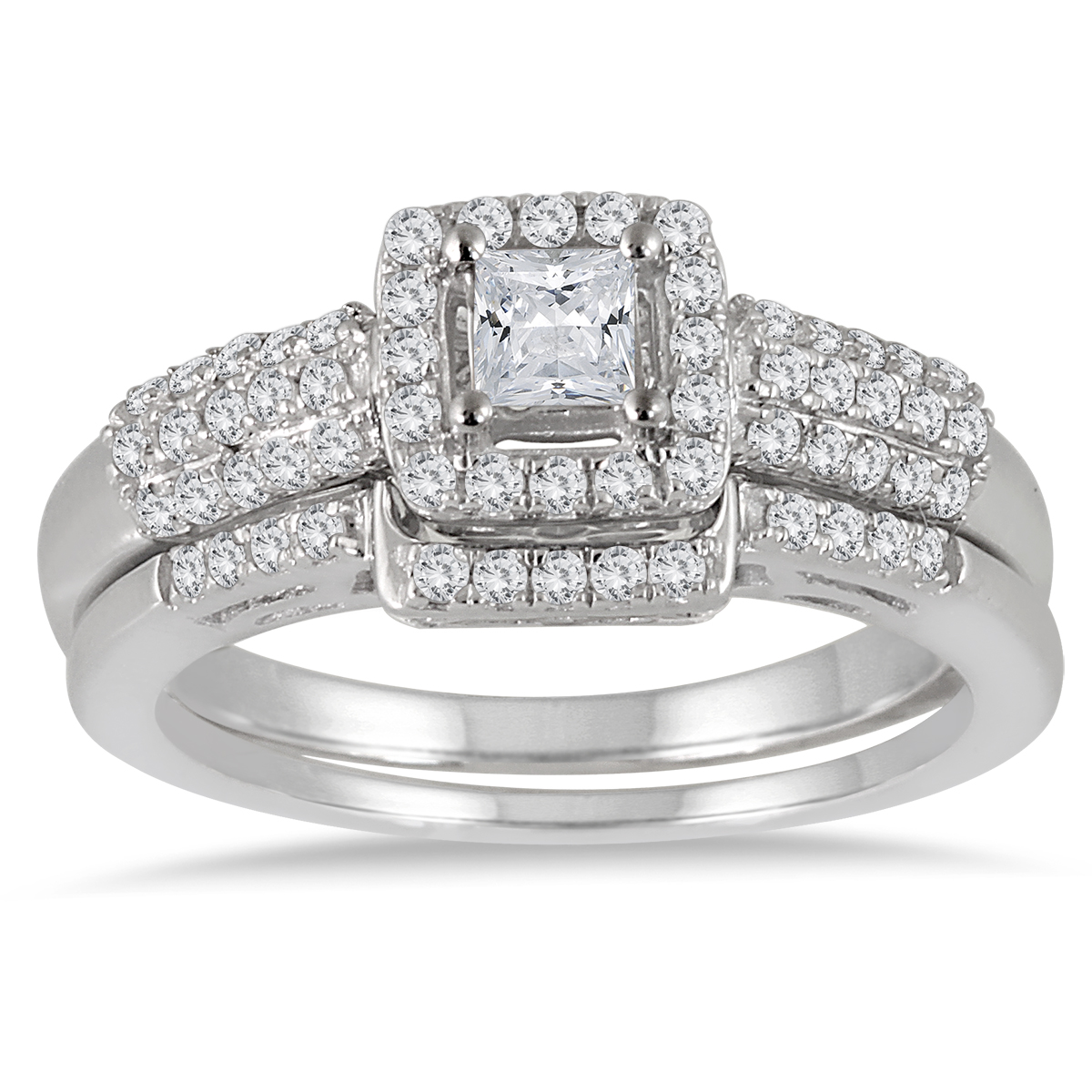 7/8 Carat TW Princess Diamond Halo Bridal
