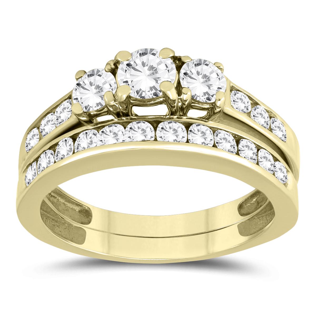 1 1/2 Carat Three Stone Diamond Bridal Set in 10K Yellow Gold
