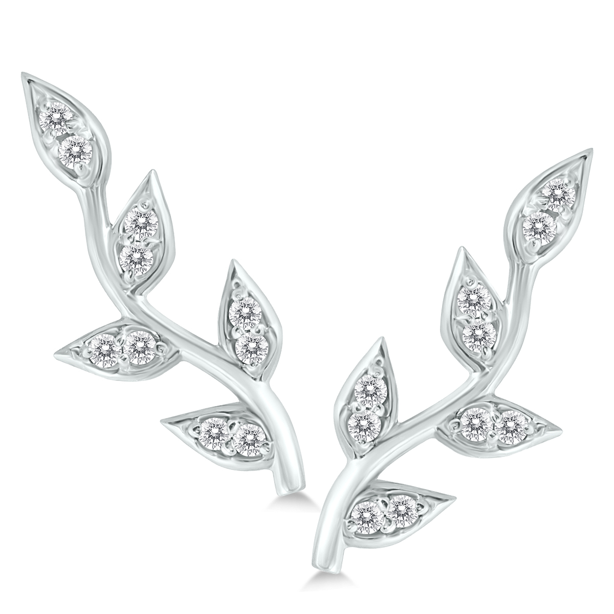 1/5 Carat Tw Diamond Vine And Leaf Earrings In 14k White Gold