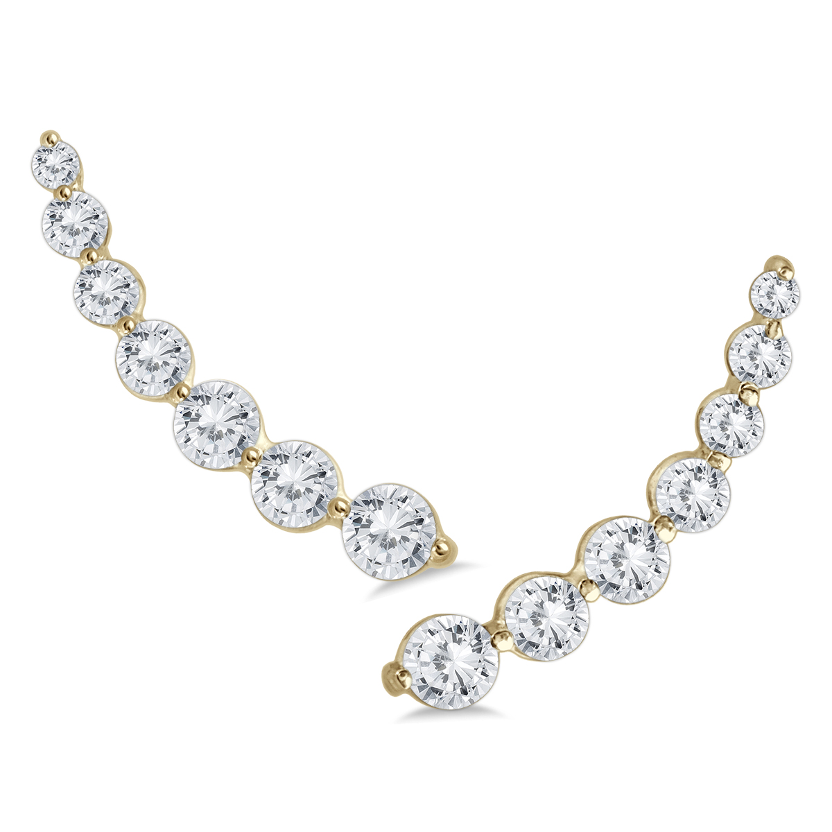 1 1/4 Carat TW Diamond Climber Earrings Set in 14K Yellow Gold