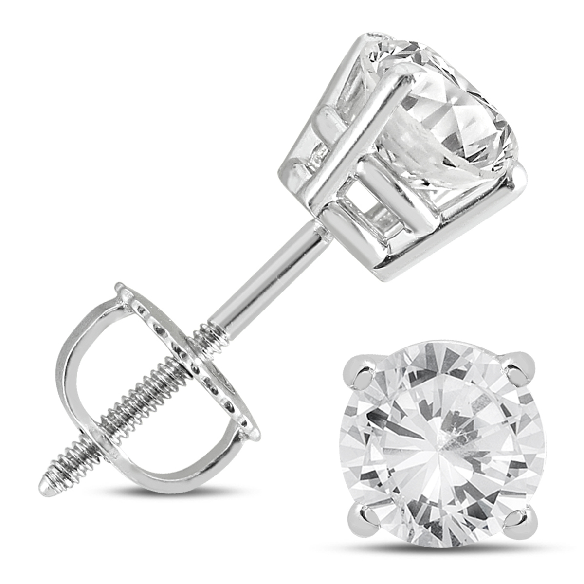 1 1/2 Carat TW Diamond Solitaire Stud Earrings in 14K White Gold (K L Color, I2 I3 Clarity)
