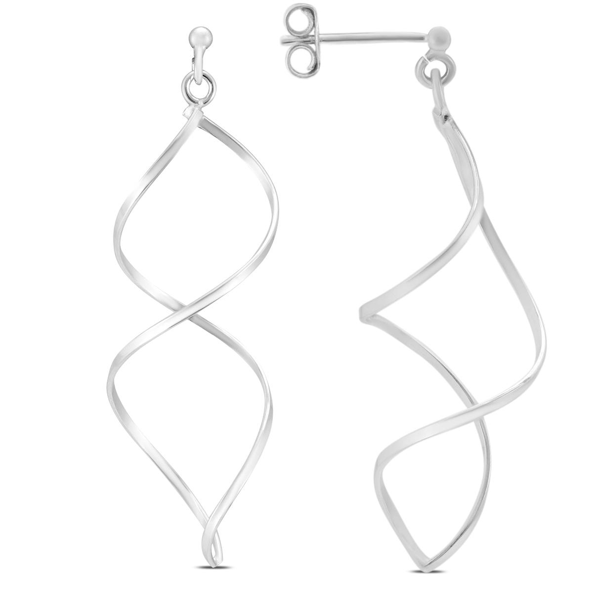 .925 Sterling Silver Spiral Swirl Earrings