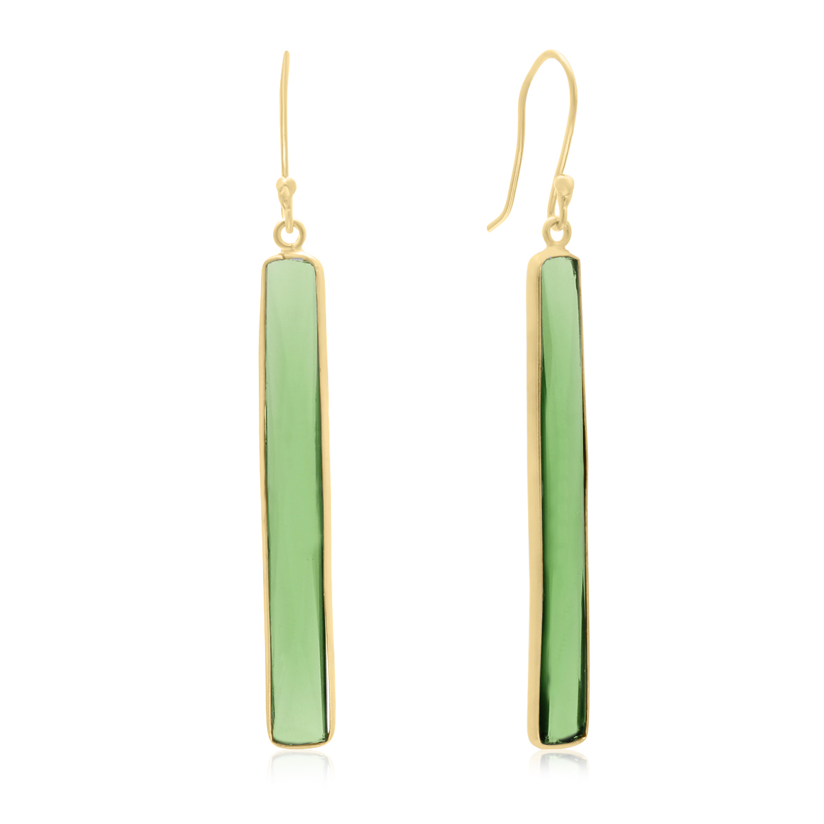 17 Carat Emerald Quartz Bar Earrings In
