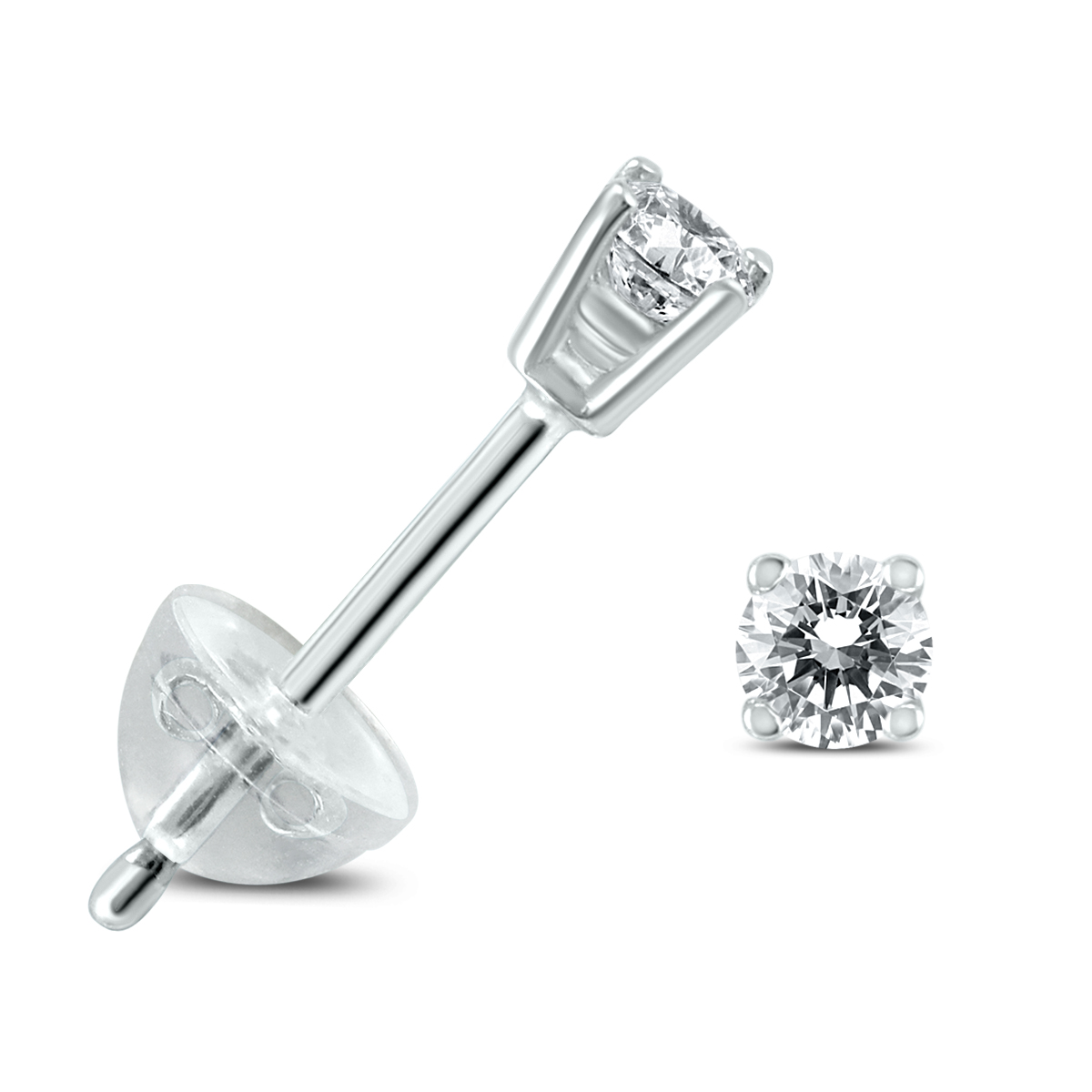 .04CTW Round Diamond Solitaire Stud Earrings In 14k White Gold with Silicon Backs