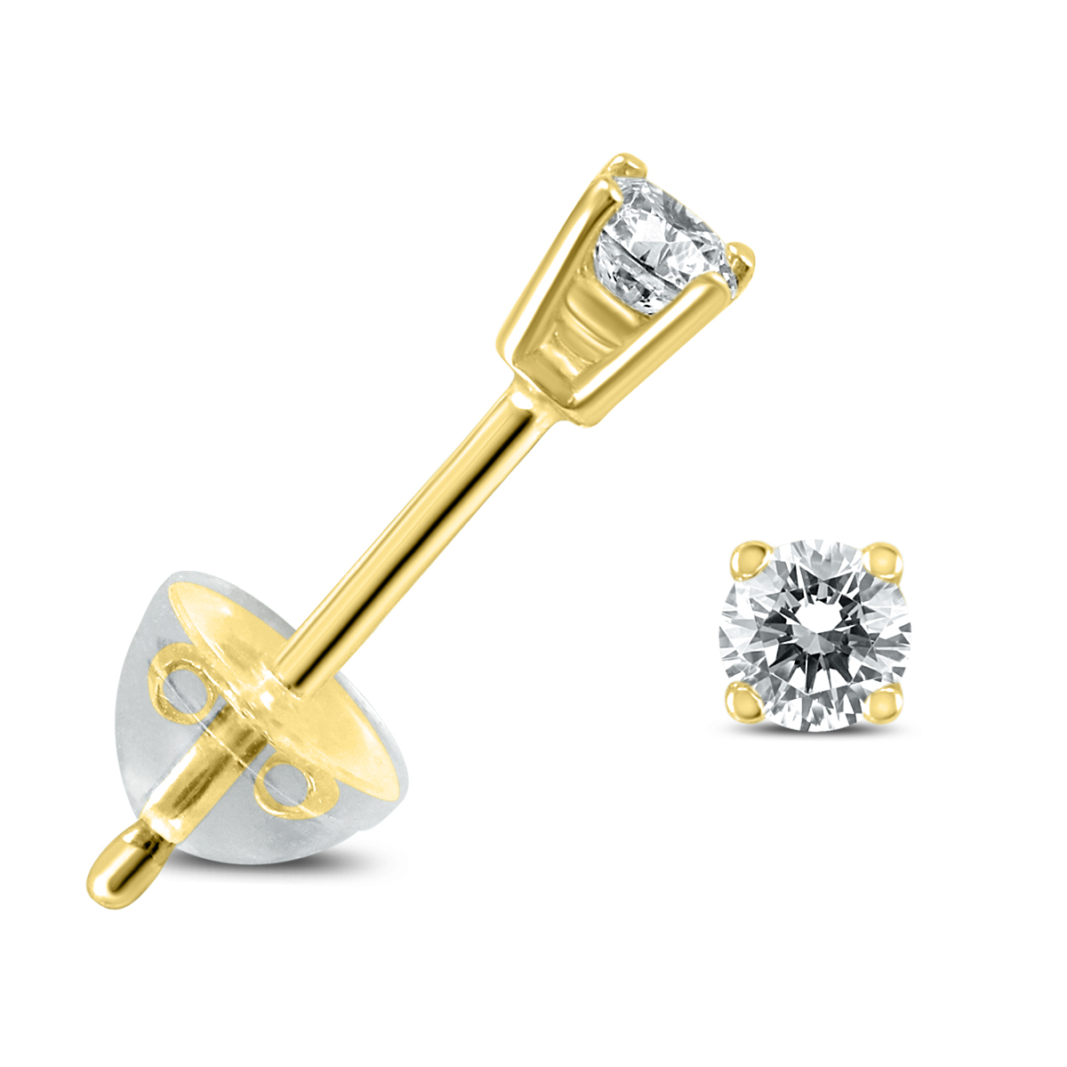 .04CTW Round Diamond Solitaire Stud Earrings In 14k Yellow Gold with Silicon Backs