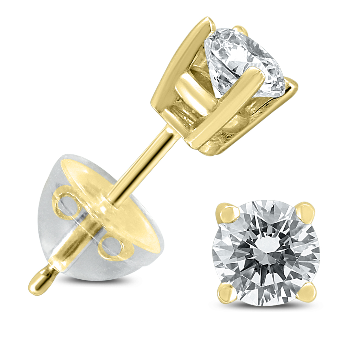 .55CTW Round Diamond Solitaire Stud Earrings In 14k Yellow Gold with Silicon Backs