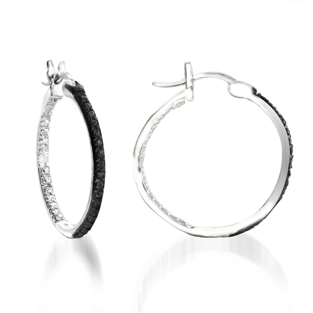 0.02 Carat Black and White Diamond Hoop Earrings in .925 Sterling Silver