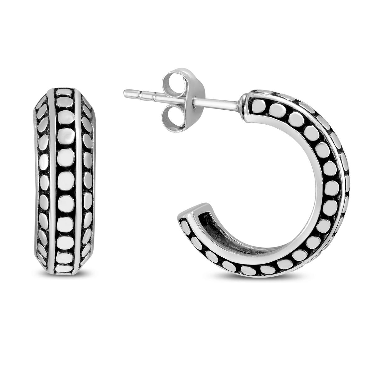 Antique Finished J Hoop Earrings in .925