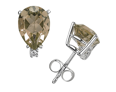 7X5mm Pear Smokey Quartz and Diamond Stud Earrings in 14K White Gold
