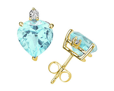These wonderful earrings feature two lovely all natural 10mm Heart Aquamarine gemstones prong set in 14K Yellow Gold. A pair of dazzling white diamonds give a dash of sparkling brilliance to these earrings, making them a jewelry essential perfect for almost any occasion. Diamond weight 0.06 Color J-K-L, Clarity I2-I3. A spectacular look that will be treasured forever. The earrings come standard with push back posts but can be upgraded to screw back posts for an additional charge by contacting our Customer Service Department