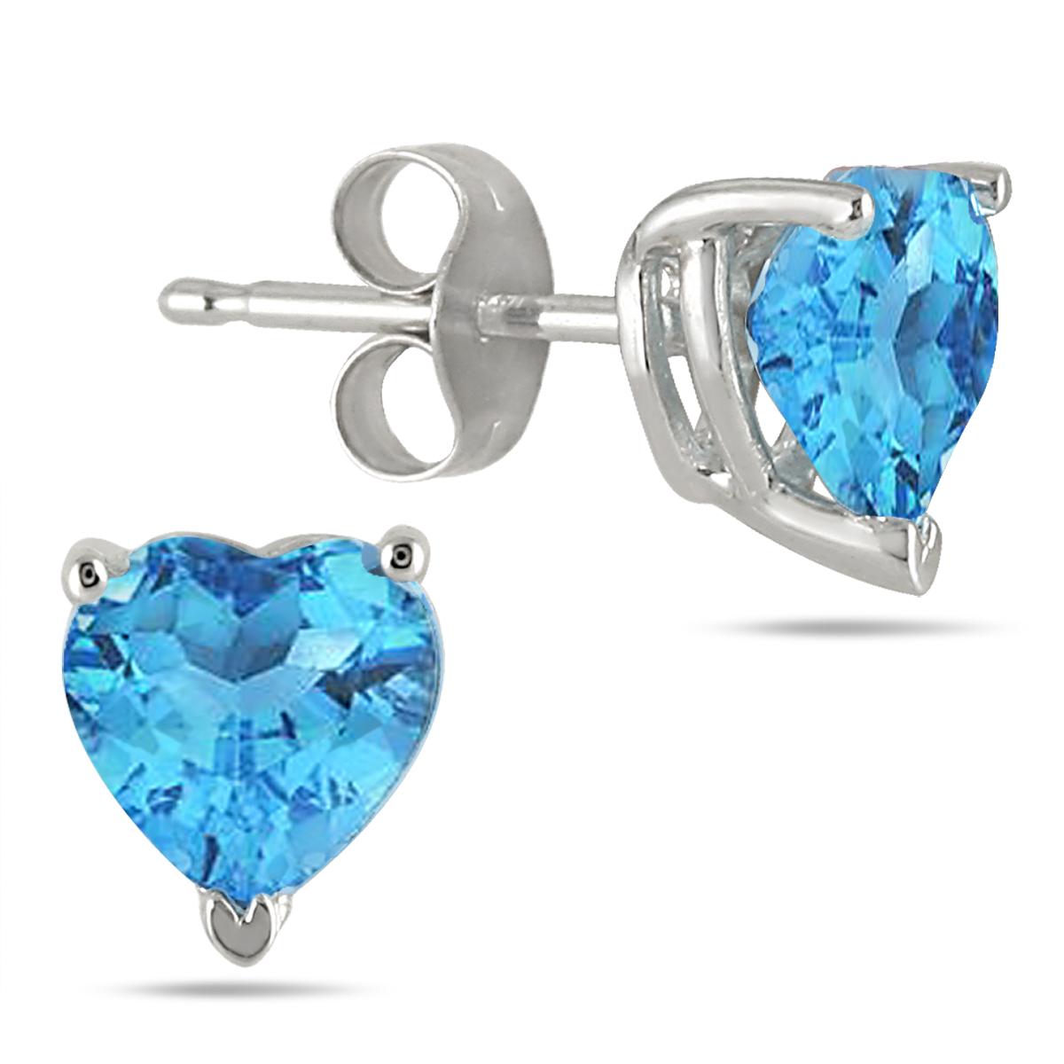 7MM All Natural Heart Blue Topaz Stud
