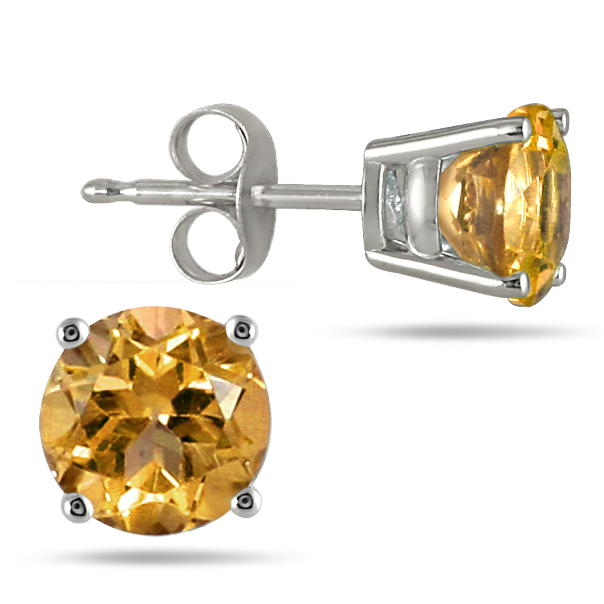 4MM All Natural Round Citrine Stud Earrings