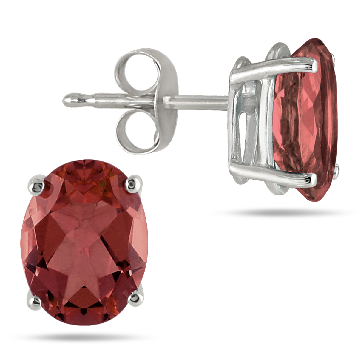 szul.com All-Natural Genuine 8x6 mm, Oval Garnet earrings set in 14k White Gold at Sears.com
