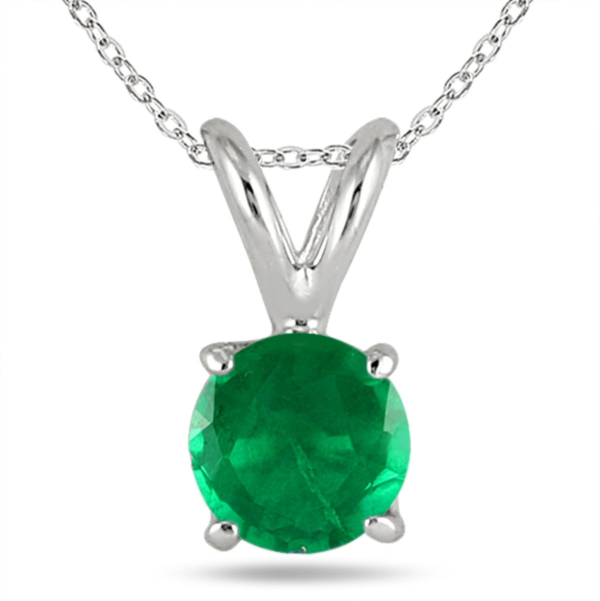 5MM All Natural Round Emerald Stud Pendant