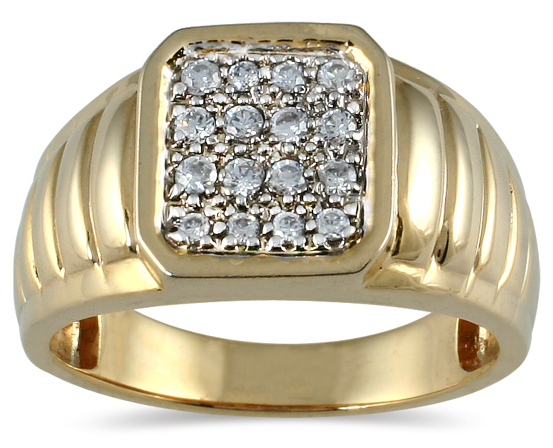 szul.com  Men's Diamond Ring in 10K Yellow Gold