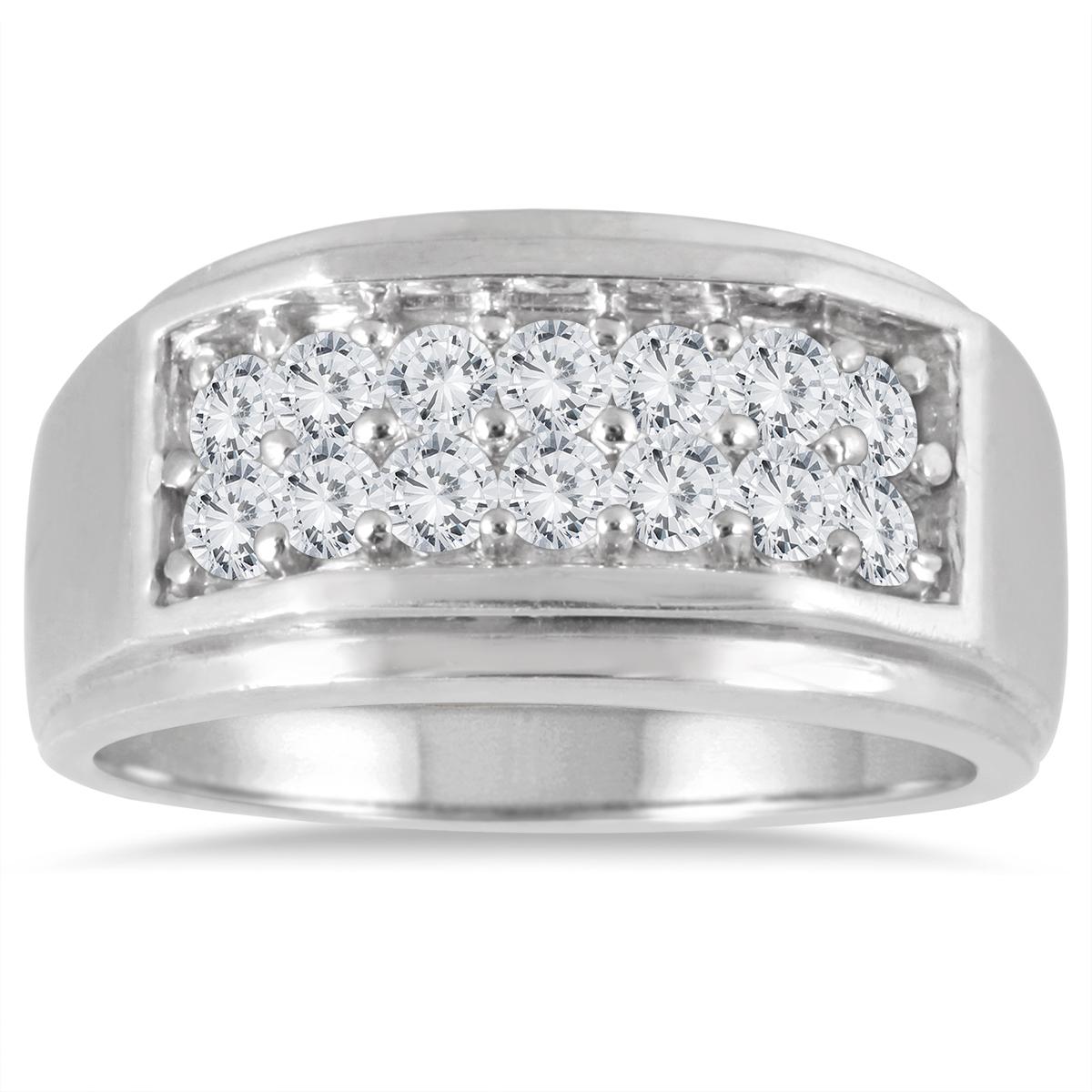 1 Carat Diamond Men's Ring in 10K White Gold thumbnail