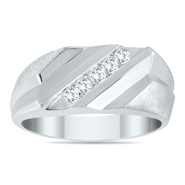 Mens Diamond Rings, Mens Bands, Wedding Rings, Classic Rings, Domed, Knife Edge Men 14kt Yellow Gold 14kt White Gold