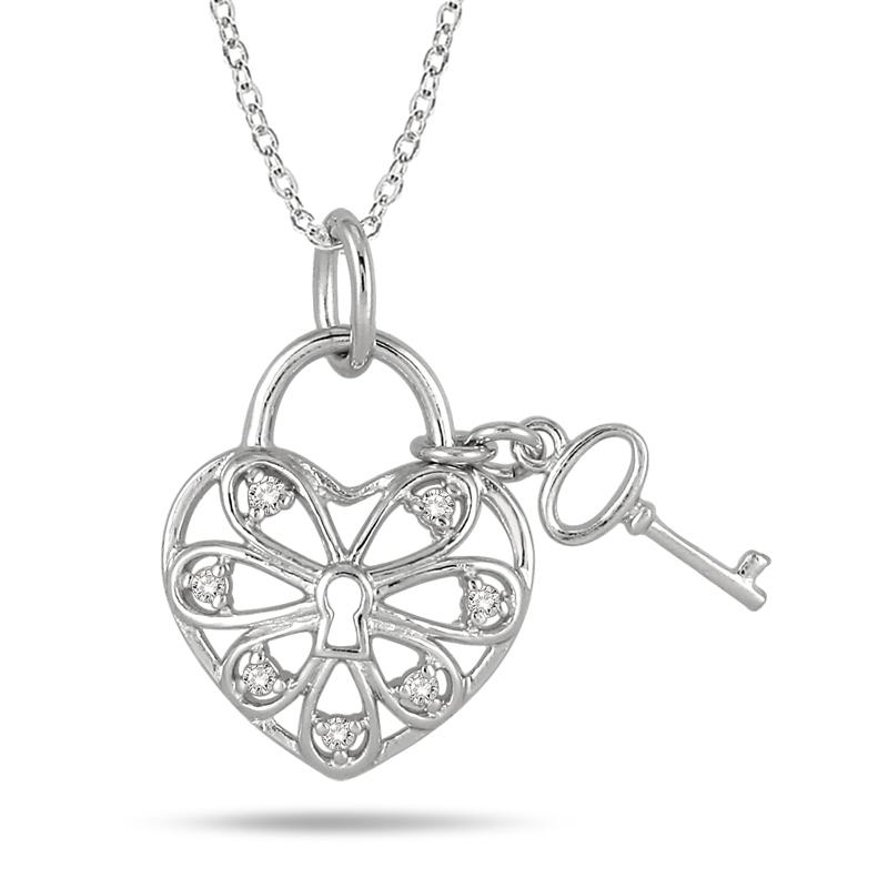0.10 Carat T.W Diamond Heart Pendant in .925 Sterling Silver