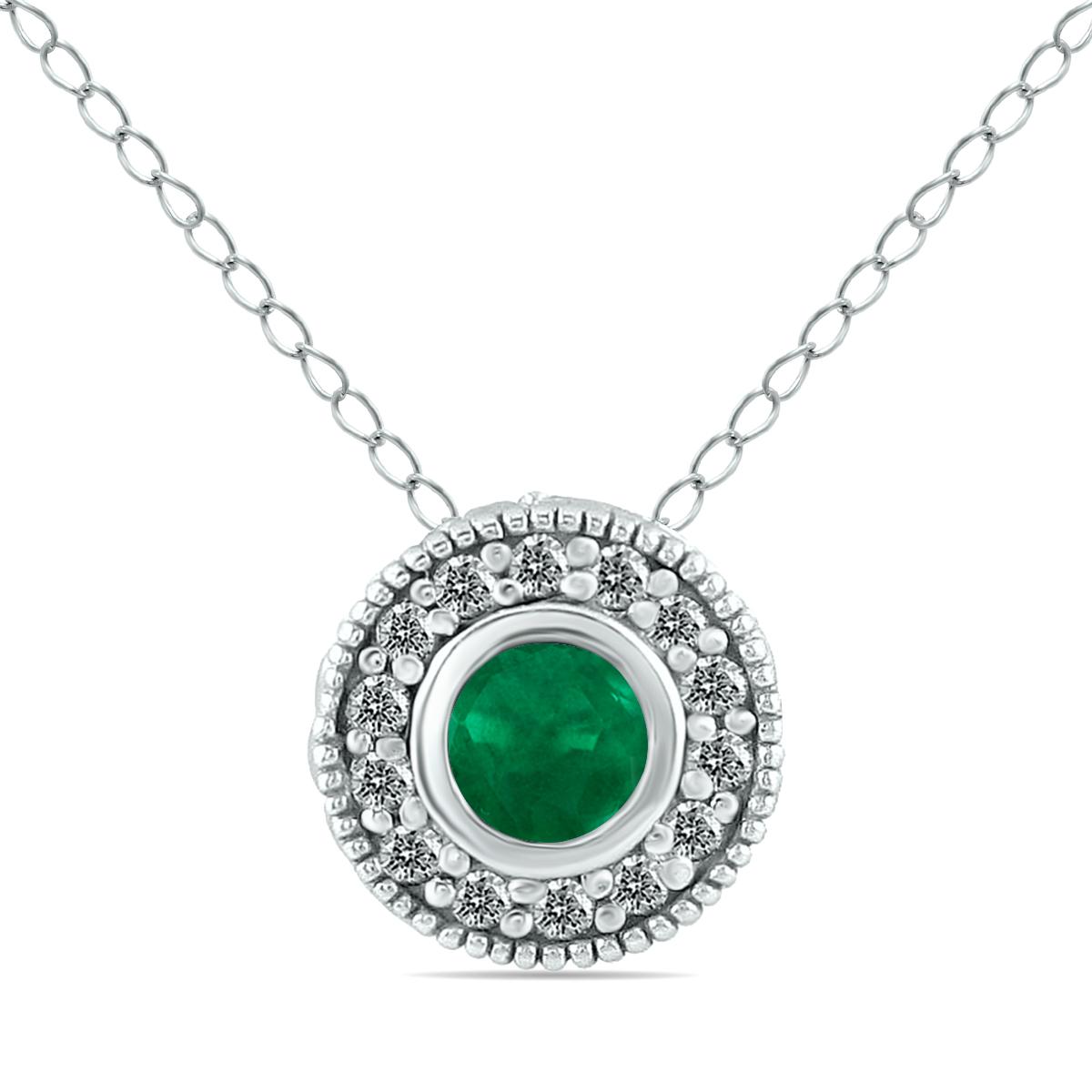 szul.com 1/6 CTW Diamond and Emerald Pendant in 10K White Gold at Sears.com
