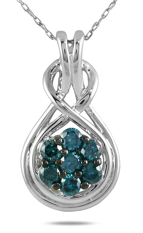 szul.com 1/2 Carat TW Blue Diamond Pendant in 10K White Gold at Sears.com