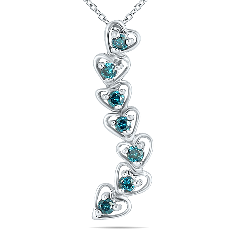 1/3 Carat TW Blue Diamond Journey Heart